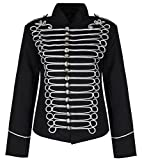 Ladies Black Silver Emo Punk Goth Napoleon Military Drummer Parade Jacket