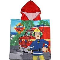Kids Character Fireman Sam FireTruck Childrens Beach Bath Hodded Poncho