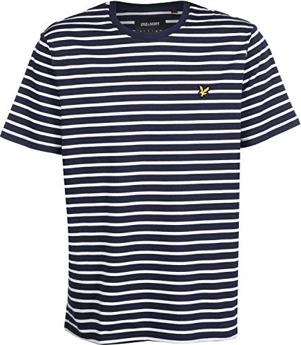 Scott Weiß Logo (Lyle and Scott Breton Stripe T-Shirt Herren blau/weiß, XL)