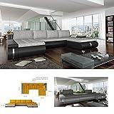 BMF Fado Lux grau/weiß U-Form Sofa Kunstleder/Stoff rechts Blickende Gute Preis