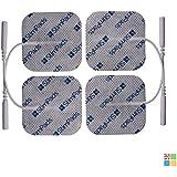 StimPads, 50X50mm, Pack de 4 unidades de alto rendimiento, electrodos TENS - EMS de larga duración con conector universal tipo pin de 2mm