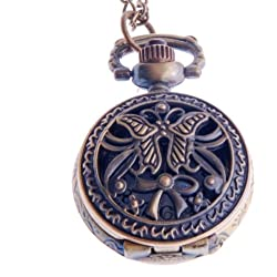 Womens Pendant Pocket Watch Quartz With Chain Small Face White Dial Arabic Numerals Butterfly-Bow Design PW-58