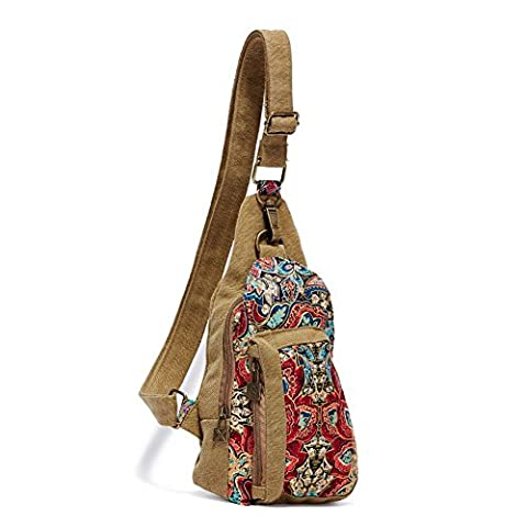 Dopobo Retro Bohemian Style Vintage Women's Canvas Printed Chest Bag Bosom Satchel Travel Sports Bags-15cm(Length) x 20cm(Height) x 6cm(Width) (Version 03)