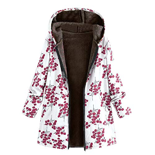 LoveLeiter Frauen Vintage Damen Fleece Dick Mantel Hoodie Pullover  Strickjacke Winterjacke Dicke Wollmantel Outwear Floral Print Hooded  Oversize Winter ... 639fb42d19