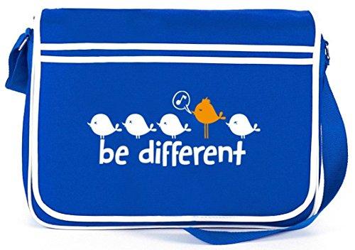 Shirtstreet24, Be Different, Retro Messenger Bag Kuriertasche Umhängetasche Royal Blau