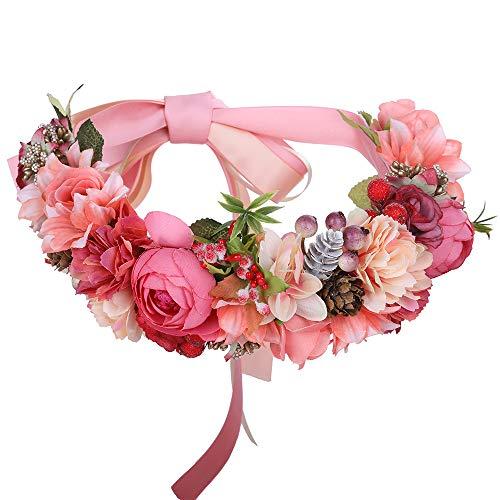 AWAYTR Blumenkrone Blumen stirnband Haarkranz - Hochzeit Girlande Krone Exquisit Tannenzapfen Beere Kranz Boho Festival Blumen Stirnband -