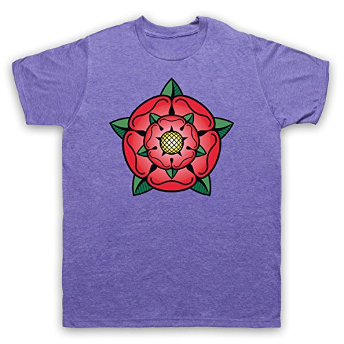 Tudor Rose British Regal Heraldic Symbol Herren T-Shirt Jahrgang Violett