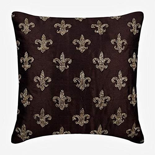 marron coussin décoratif pour canapé, 30x30 inch housse de coussin, Soie housse de coussin, Perles d'or Fluer De Lis modèle Motif géométrique housse de coussin - Fleur De Lis