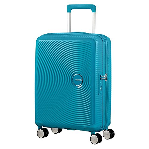 American Tourister Soundbox Spinner Espandibile Bagaglio A Mano, 55 cm, 35,5/41 L, 2,6 Kg, Blu (Summer Blue)