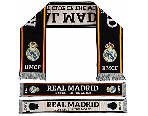 REAL MADRID- Bufanda Telar, color Negra- 'BEST CLUB OF THE WORLD'. 140 X 20cm