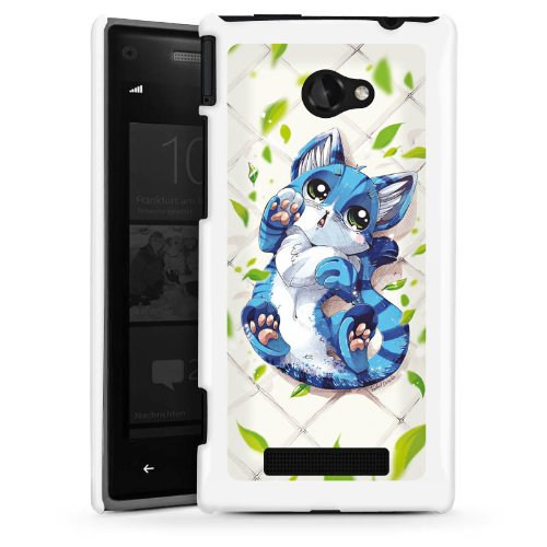 DeinDesign HTC Windows Phone 8X Hülle Schutz Hard Case Cover Blaue Katze Cat Kitty
