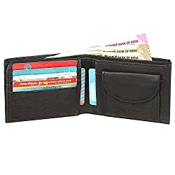 SPAIROW Mens Genuine Leather Wallet (W-333) BLACK