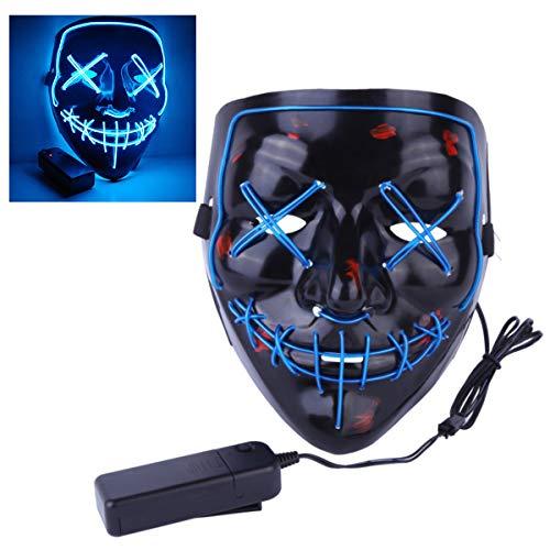 Mallalah Máscara de Halloween LED Light Up Purge Mask Máscara para Fiesta de Disfraces Máscaras para Adultos Juguetes para Fiestas Festival Cosplay Disfraz de Halloween (Azul)