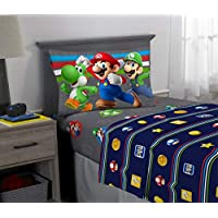 Nintendo Super Mario Kids Bedding Soft Microfiber Sheet Set, Twin Size 3 Piece Pack