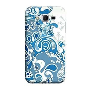 MakemyCase Samsung Core Prime G360 Patternic Flower designs 3D Matte Finishing Printed Designer Hard Back Case Cover (blue)
