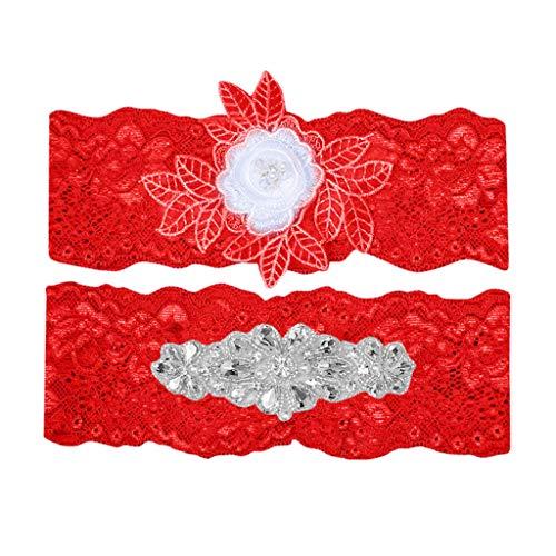 Deloito Damen Mode Spitze Gestickten Strumpfband Set Hochzeit Strumpfgürtel Strass Blumenmuster Oberschenkelgurt Garter für die Braut Party Oberschenkel Band (Rot) -
