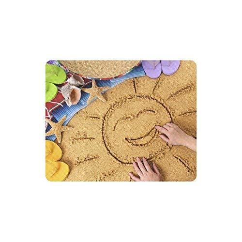 Luancrop Spiaggia Messicana con Sole e Messico Coperta Cappello Infradito su Sabbia rettangolo Antiscivolo in Gomma Tappetino per Mouse tappetini per Mouse/tappetini per Mouse