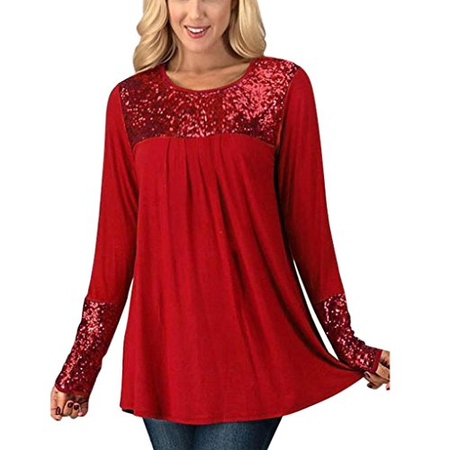 Tops Damen Bluse Xinan Frauen Langarm Pailletten Womens Tops Longsleeve O-Neck Casual Pullover Shirt Bluse (L, Rot) (Pailletten-neck-top)