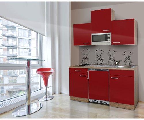 Respekta single mini küche küchenzeile küchenblock 150 cm eiche sägerau rot apl eiche sägerau nachbildung mikrowelle ceran kb150esrmic