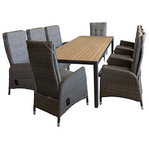 Multistore 2002 9tlg. Sitzgruppe Gartentisch 205x90cm, Polywood-Tischplatte Braun + 8X Gartensessel, Aluminium Polyrattan, stufenlos Verstellbare Rückenlehne +Kissen