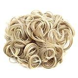 PIXNOR Moño rizado corto cabello moño extensión pelo peines Clip en la extensión de cola de...