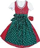 Zauberhaftes Kinderdirndl Juli mit Täschchen, 4tlg. Komplettset in verschiedenen Ausführungen, Größen:146;Farbe:rot - tanne