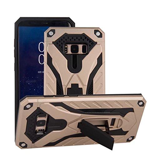 EKINHUI Case Cover Neuer stilvoller hybrider Rüstungs-schützender Abdeckungs-Fall Shockproof Doppelschicht PC + TPU rückseitige Abdeckung mit Kickstand für [Schock-Absorbtion] für Samsung-Galaxie S8 ( Gold