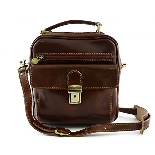 Borsello Uomo In Pelle Vera Con 2 Tasche Frontali Colore Marrone - Pelletteria Toscana Made In Italy - Borsa Uomo