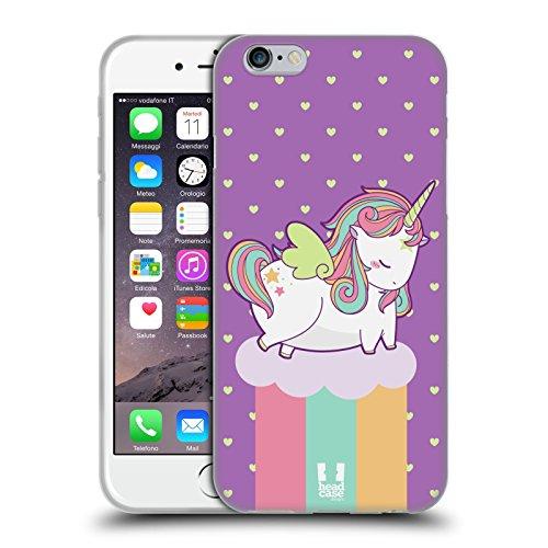Fall + Ständer Soft TPU Gel Skin Displayschutzfolie für Apple iPhone 6/6S/7/7s/8Snap auf der Rückseite Cover Rainbow Einhorn Pferd