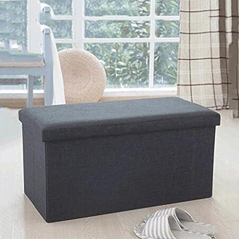 Aufbewahrungsboxen Leder für Schuh Hocker Lagerung Stuhl Speicher Hocker große Finishing-Box kann gefaltet werden Sofa Hocker kann Menschen sitzen Truhen ( Farbe : Light black )