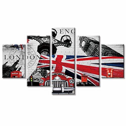 VV Art–Retro britische Flagge Castle Big Ben Telefonzelle und Auto schwarz weiß und rot Leinwand Malerei Wandbild für Wohnzimmer gerahmt zu Aufhängen (Britische Telefonzelle Dekor)