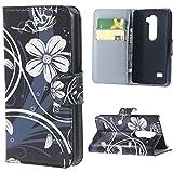LG Leon 4G LTE Schutzhülle - Weiße Blume PU Leder