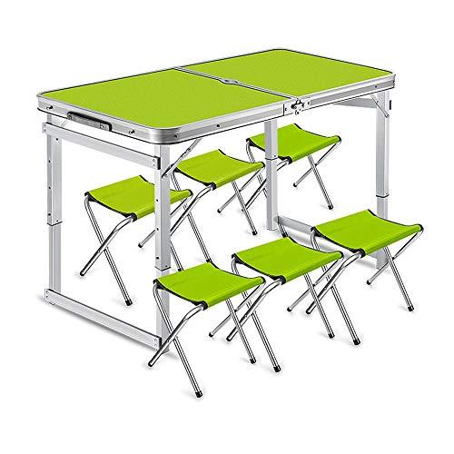 JKL- Notebookständer Aluminiumlegierung Stück Klapptisch und Stuhl Set Portable Outdoor Camping Party Tisch und Stühle (Color : Green) (Camping Stuhl Portable)