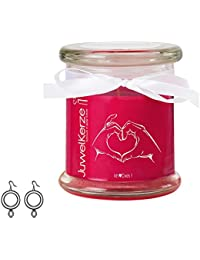 """JuwelKerze, Duftkerze """"Ich liebe Dich"""" im Glas mit Ohrringen als Geschenk für Sie"""