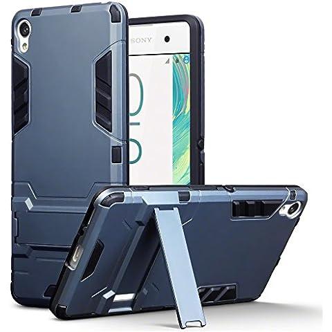 Sony Xperia XA Carcasa Híbrida de Silicona + Polycarbonato Doble Resistencia, y soporte para mesa - Azul oscuro