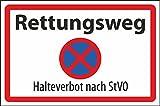 Parkverbot Parken verboten Schild Schilder -60- Rettungsweg StVO 29,5cm * 20cm * 2mm, ohne Befestigung
