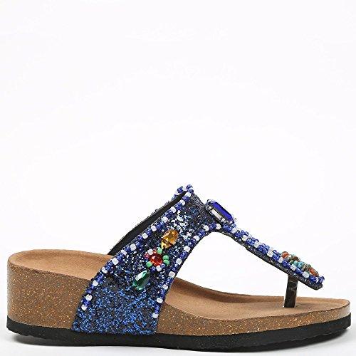 Ideal-Shoes Nu-piedi con paillette e legno incrostato Andrienne strass Blu (blu)