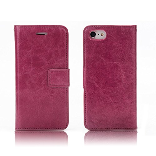 EKINHUI Case Cover Verrückte Pferd Textur Flip Stand Fall Wallet Beutel Case Cover mit Card Slots & Abnehmbare Back Cover für iPhone 7 ( Color : Green ) Wine