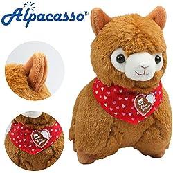 """KOSBON 6,7""""pequeña cute cojín relleno de peluche en forma de corazón de alpaca bufanda suave juguete muñeca, mejores regalos de cumpleaños para los niños Niños durante 2años"""