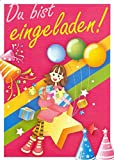 Einladungskarten Kindergeburtstag Kinder Mädchen mit Innentext Motiv Mädchen Luftballons 12 Karten im Postkartenformat DIN A6 mit Umschlägen Einladung Geburtstag Mädchen (K07)
