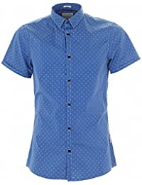 Guess Chemise Ss Allover Printed Bleu