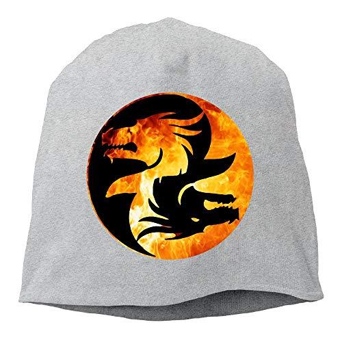 Yin Yang Symbol T-Shirt Dragon Theme Chinese Asiatic Beanies Cap for Men Women -