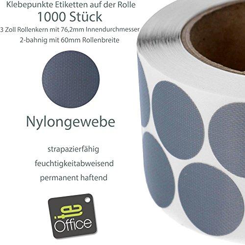 te-office 1000 pedazos Rollo 76mm 2-bahnig Núcleo nailon Puntos markierungsetiketten Etiquetas Adhesivas 30mm Redondo En Gris - 1000 Gris