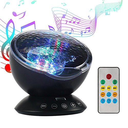 Projektor Lampe, LED Nachtlicht mit Lautsprecher, Lichteffekt Ozeanwelle, Stimmungslicht mit Fernbedienung, integrierte Timerfunktion, Schlaflicht für Kinder im Zimmer, Geschenk zum Geburtstag