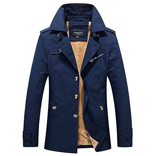 THWS Hr. Mantel Verdickung slim Stil Freizeitaktivitäten, blau, 3XL sportswear Windjacke (Ägypten Kleidung Für Männer)