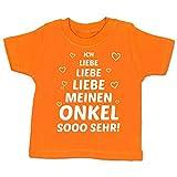Sprüche Baby - Ich Liebe Meinen Onkel so sehr - 12-18 Monate - Orange - BZ02 - Baby T-Shirt Kurzarm