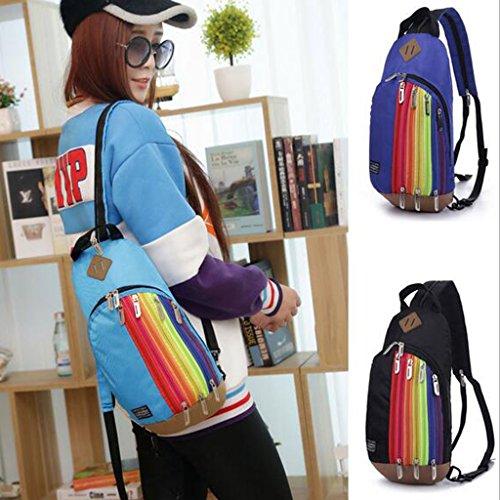 Regenbogen Sling Bag, als Umhängetasche / Brusttascher oder Rucksack verwendet kann, Reisezubehör Body Bag, Sporttasche Hellblau