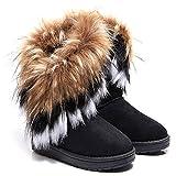 Meloo Damen Schuhe Winter Warm Boots Schnee Stiefel Warm Pelz Stiefel Stiefeletten Schneestiefel Gr.36-40 (38, Schwarz)