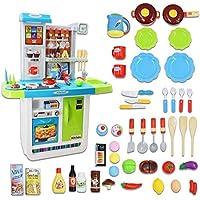 deAO K11-b Little Chef Kitchen Playset - Juego de rol con Panel táctil, características de Agua y 50 Accesorios incluidos (Azul), 98 x 74 x 35 cm