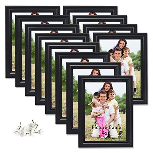 PETAFLOP 12er Set Bilderrahmen 10 x 15 cm Schwarz Fotorahmen für Wand-Oder Tischdekoration (Tabletop-bilderrahmen)